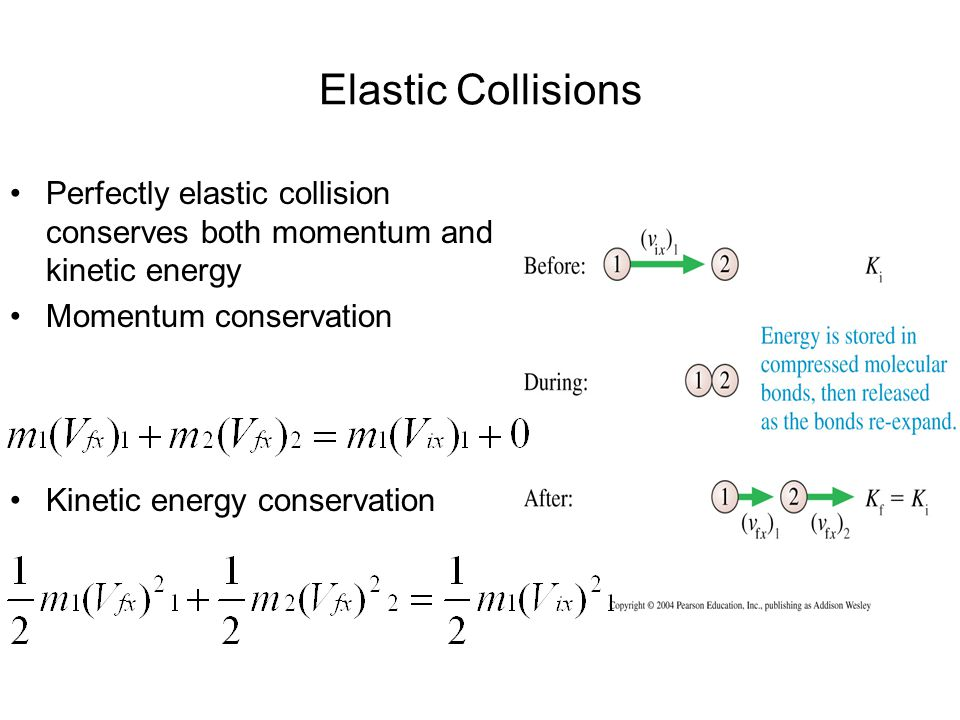 Elastic Collisions Perfectly elastic collision conserves both momentum and kinetic energy. Momentum conservation.