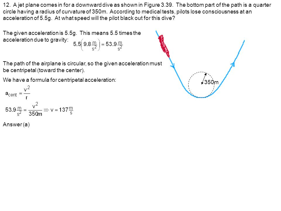 12. A jet plane comes in for a downward dive as shown in Figure 3. 39