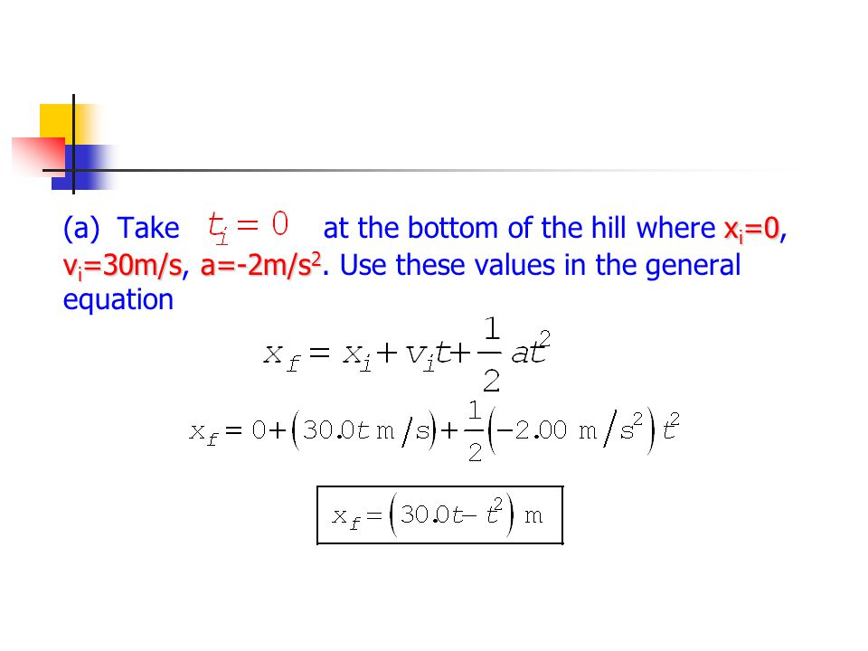 (a). Take at the bottom of the hill where xi=0, vi=30m/s, a=-2m/s2