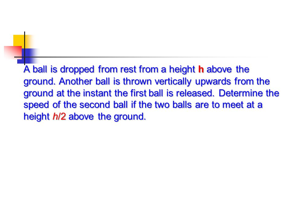 A ball is dropped from rest from a height h above the ground