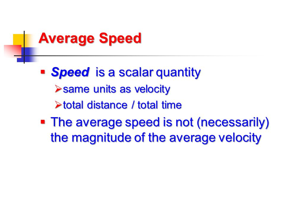 Average Speed Speed is a scalar quantity