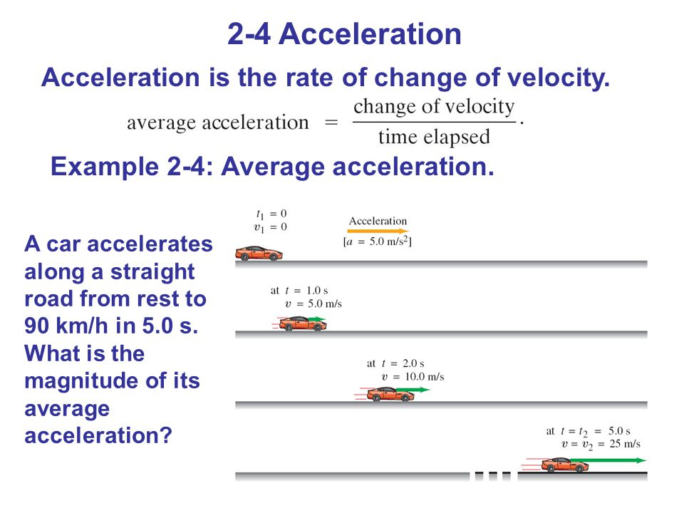 2-4 Acceleration Acceleration is the rate of change of velocity.