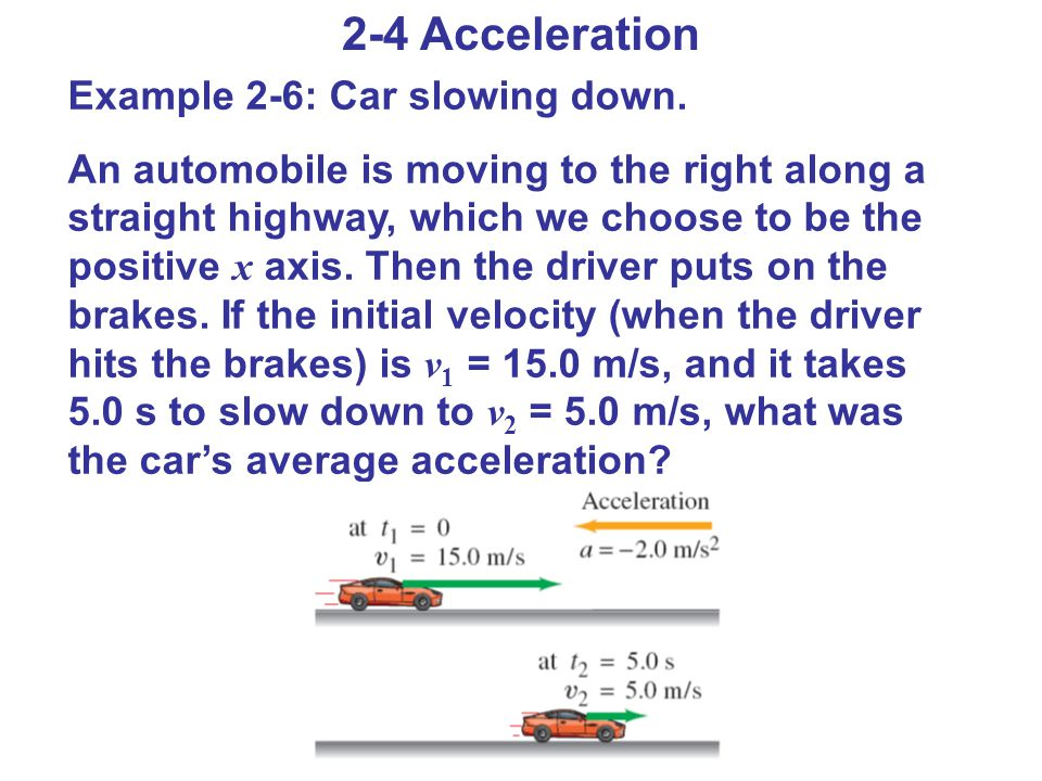 2-4 Acceleration Example 2-6: Car slowing down.