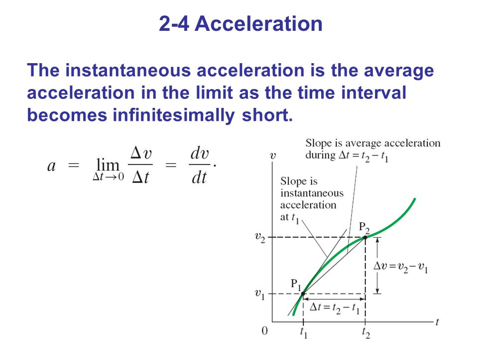 2-4 Acceleration The instantaneous acceleration is the average acceleration in the limit as the time interval becomes infinitesimally short.