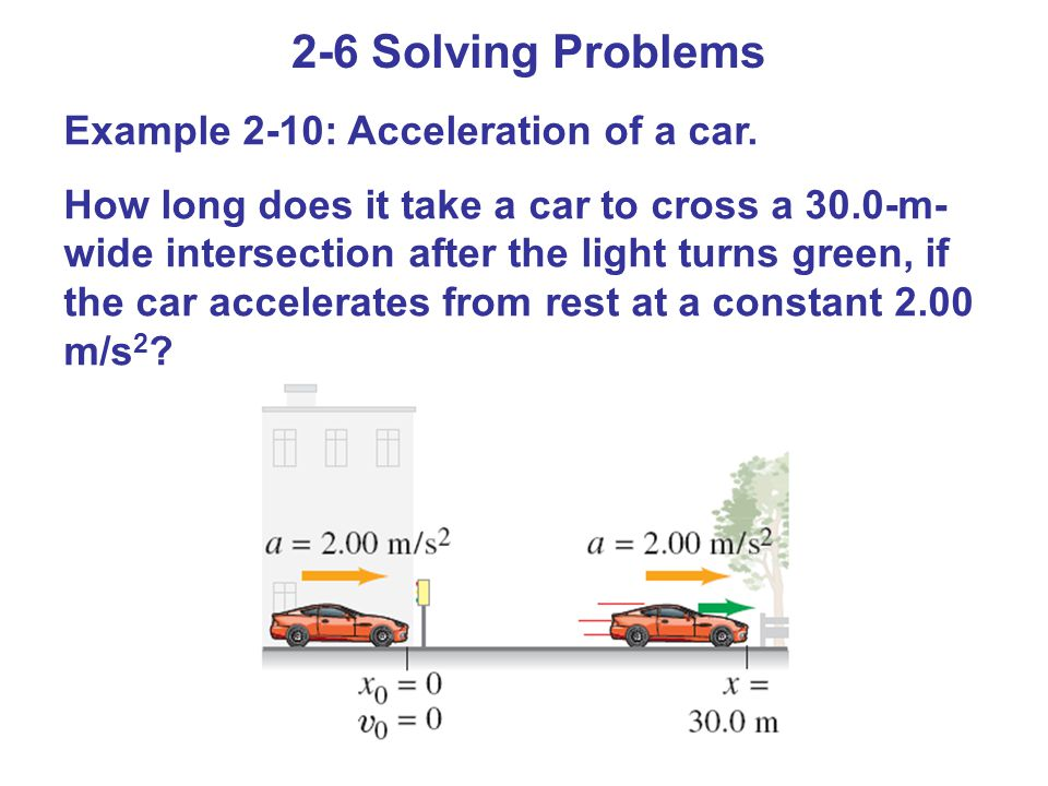 2-6 Solving Problems Example 2-10: Acceleration of a car.