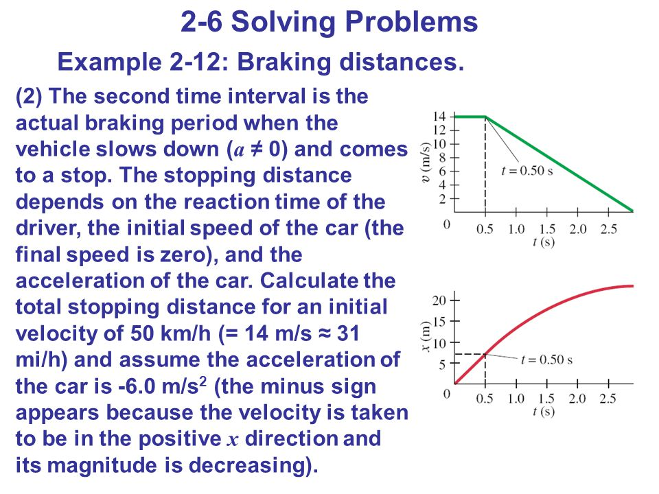 2-6 Solving Problems Example 2-12: Braking distances.