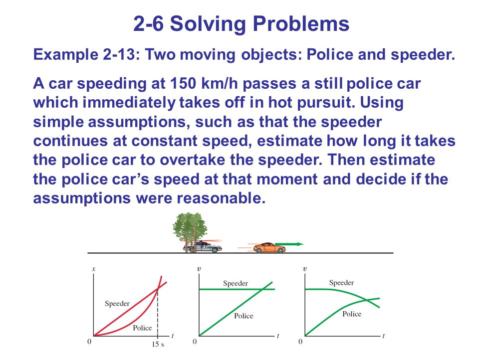 2-6 Solving Problems Example 2-13: Two moving objects: Police and speeder.