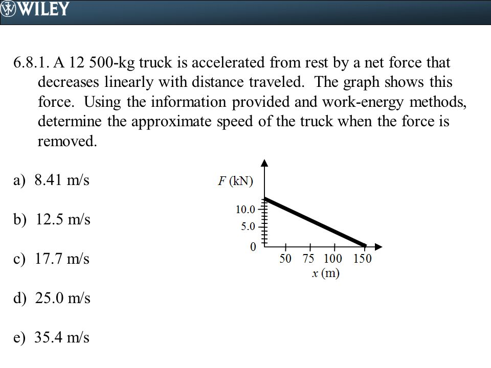 6.8.1. A 12 500-kg truck is accelerated from rest by a net force that decreases linearly with distance traveled. The graph shows this force. Using the information provided and work-energy methods, determine the approximate speed of the truck when the force is removed.
