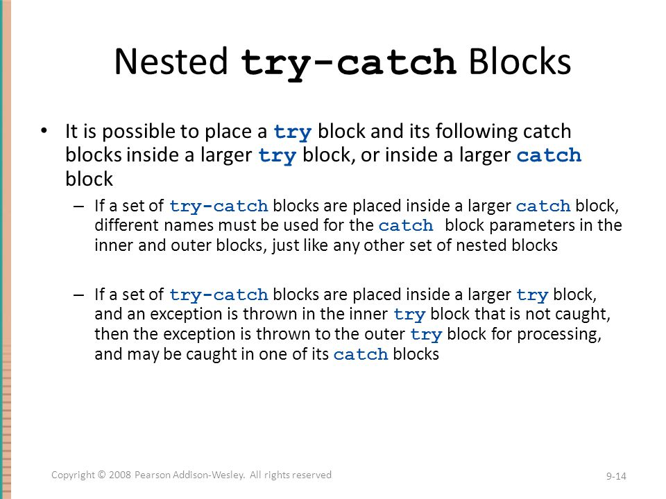 Nested try-catch Blocks