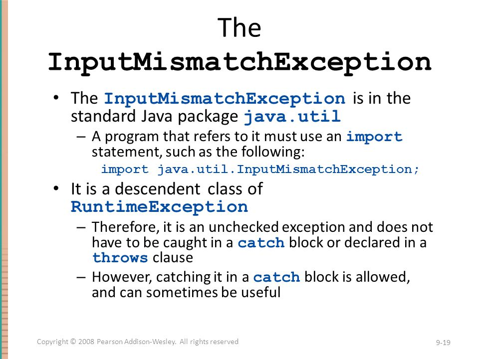 The InputMismatchException