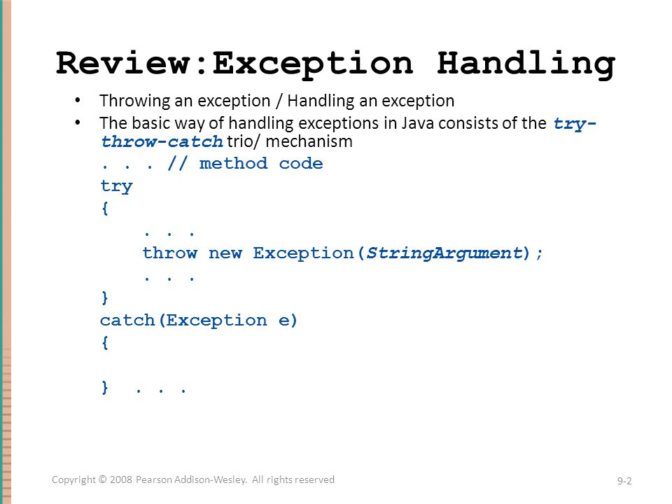 Review:Exception Handling