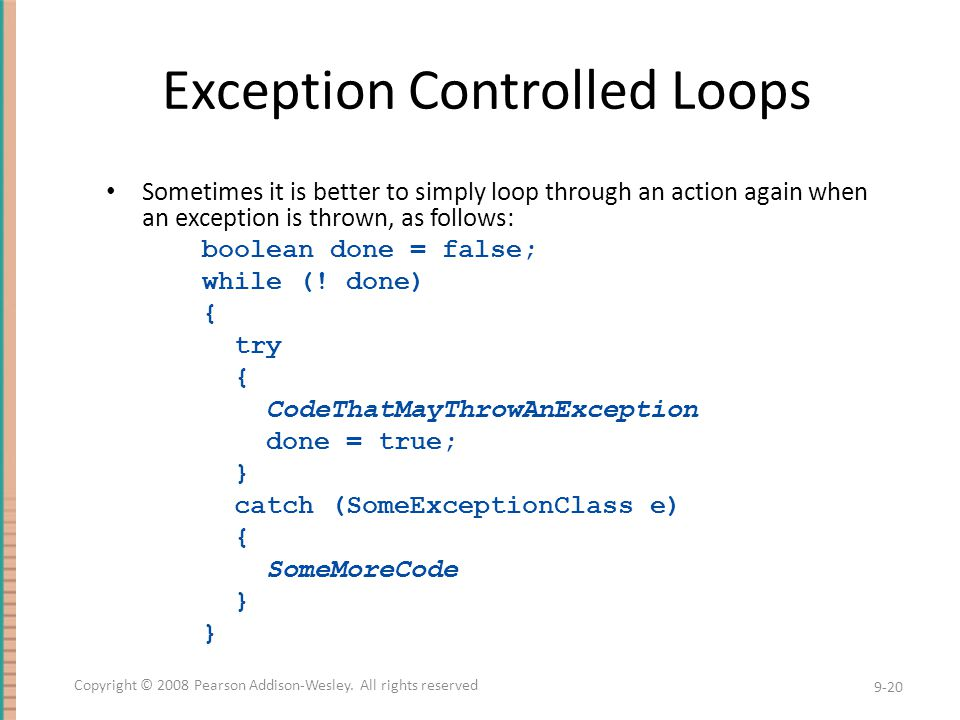 Exception Controlled Loops