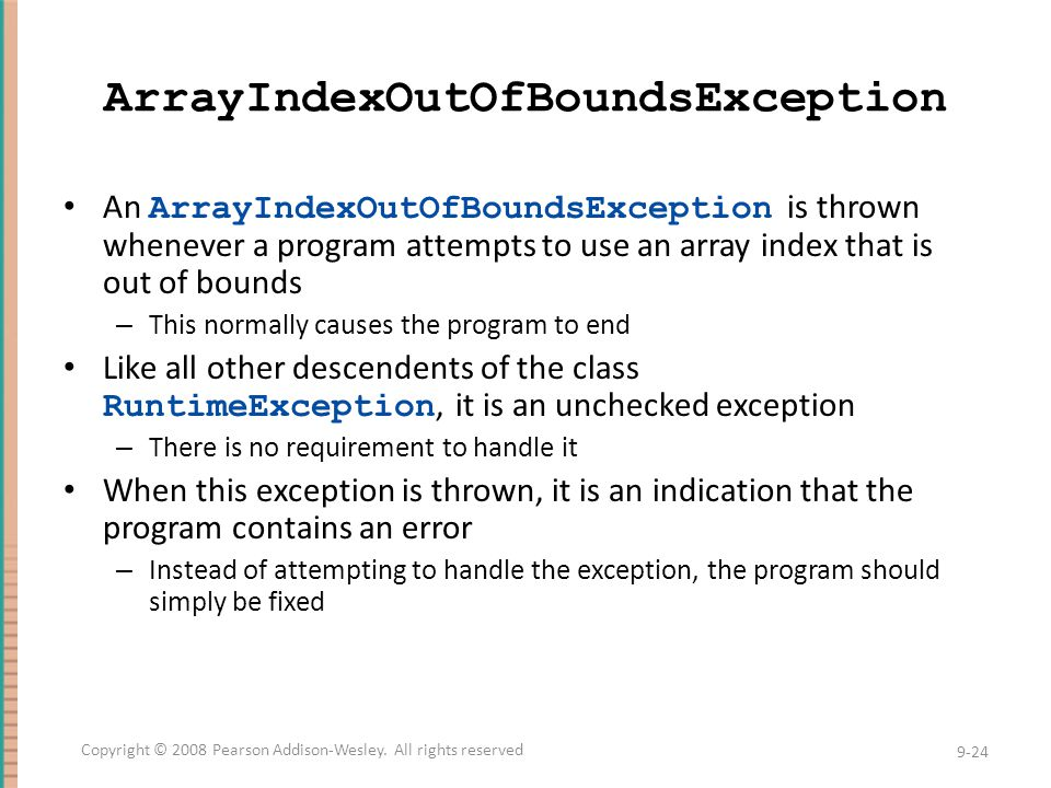 ArrayIndexOutOfBoundsException