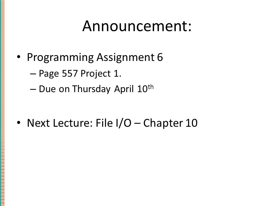 Announcement: Programming Assignment 6