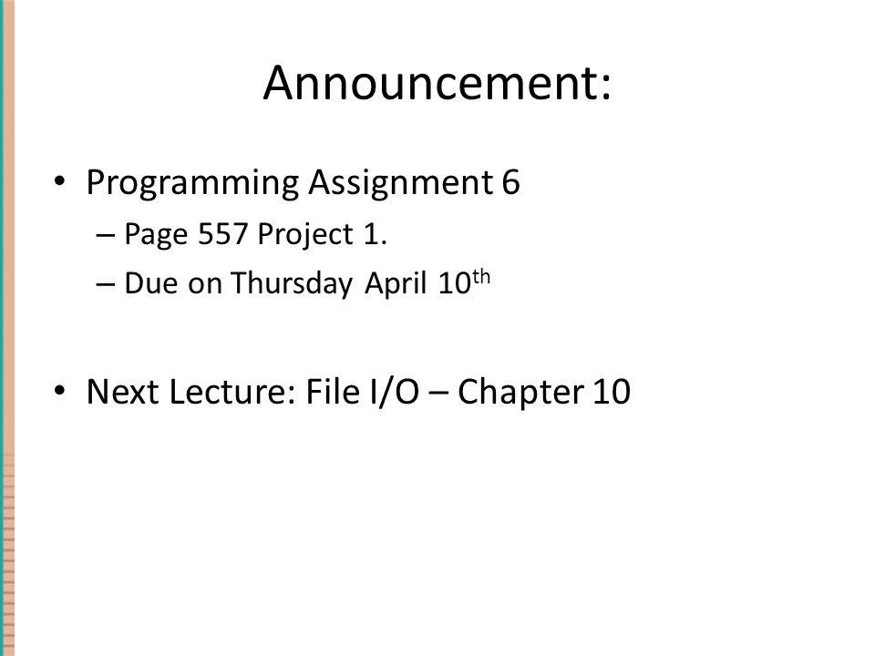 Announcement: Programming Assignment 6