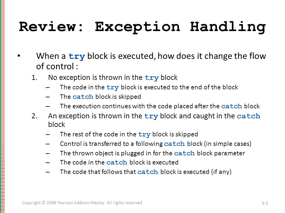Review: Exception Handling