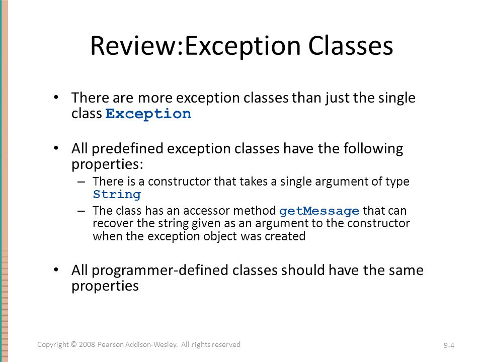 Review:Exception Classes