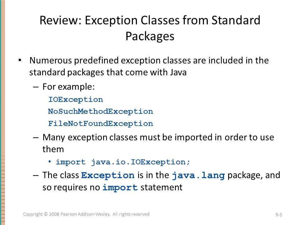 Review: Exception Classes from Standard Packages