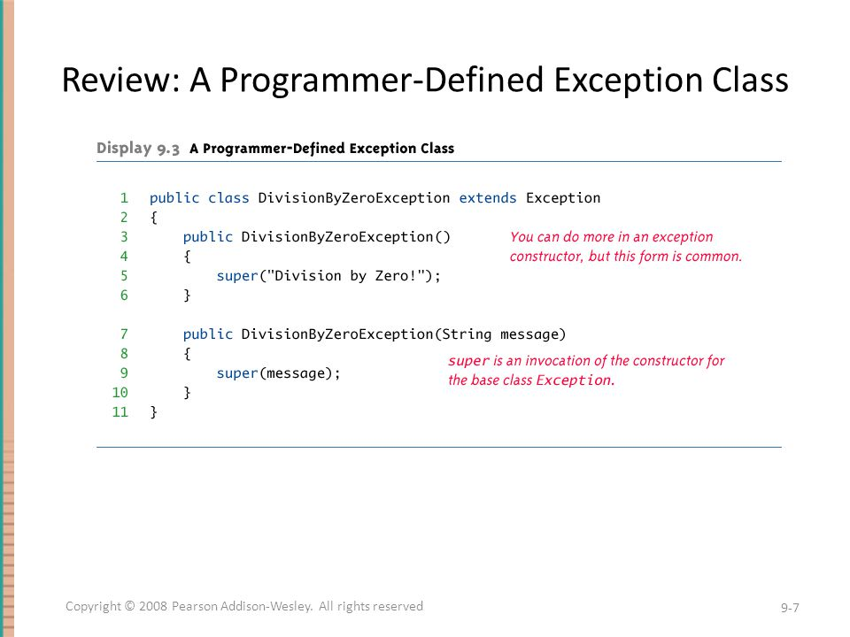 Review: A Programmer-Defined Exception Class