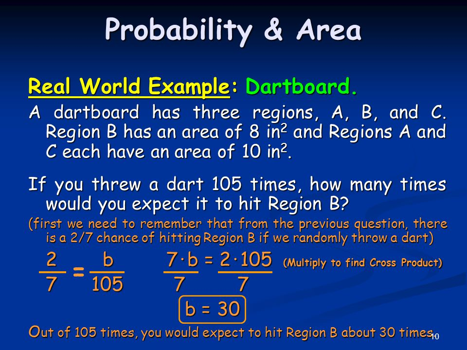 Probability & Area = Real World Example: Dartboard.