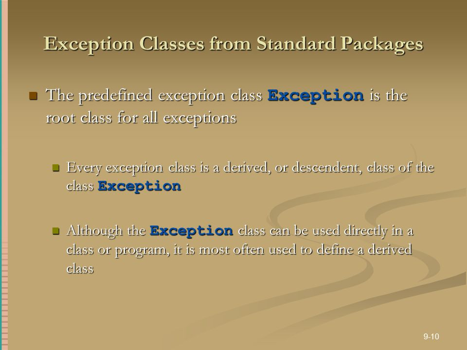 Exception Classes from Standard Packages