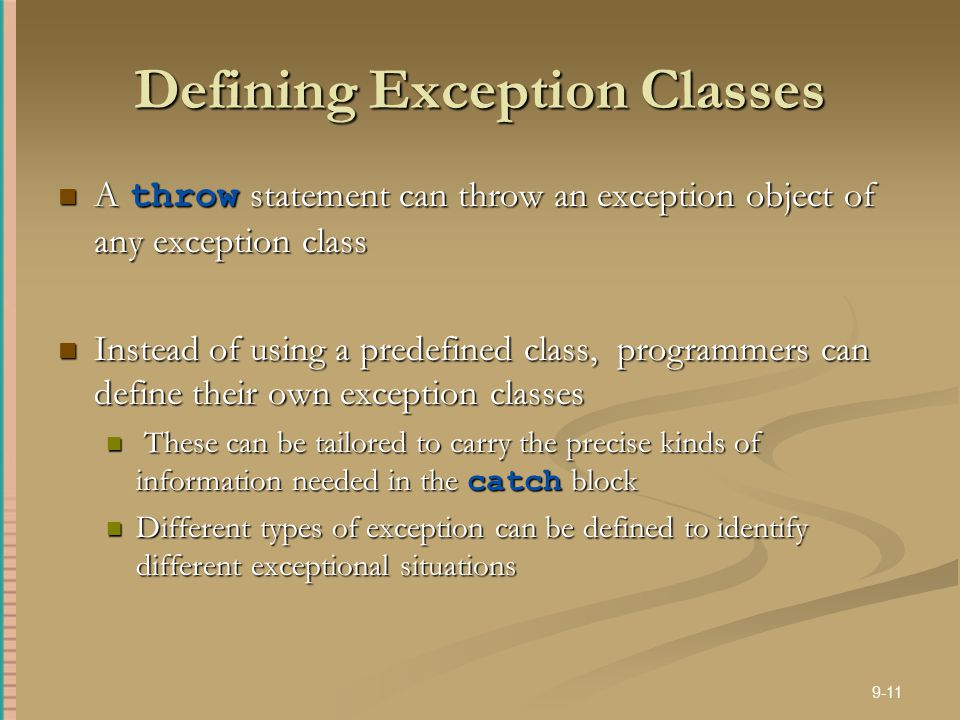 Defining Exception Classes
