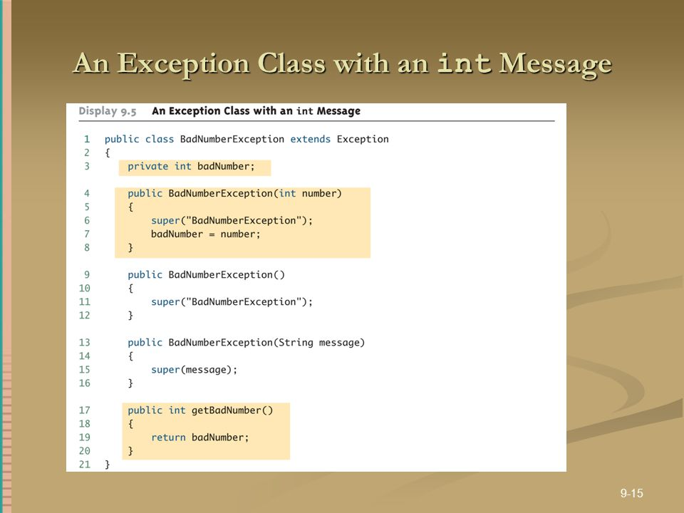 An Exception Class with an int Message