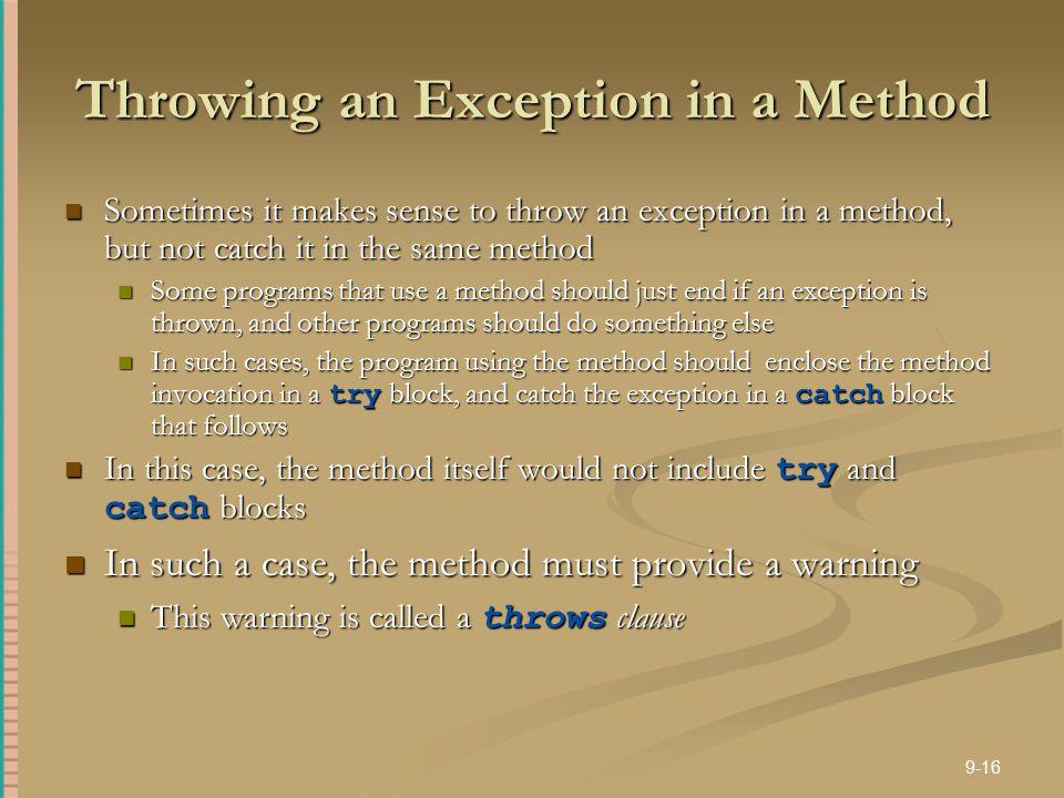Throwing an Exception in a Method