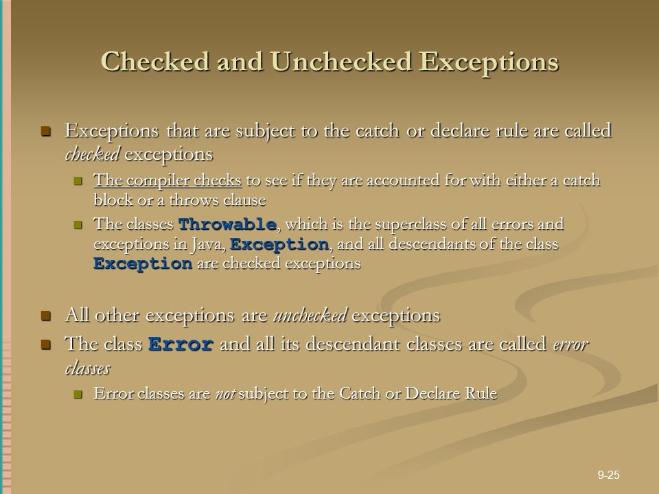 Checked and Unchecked Exceptions