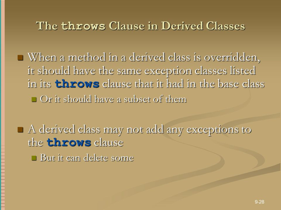 The throws Clause in Derived Classes
