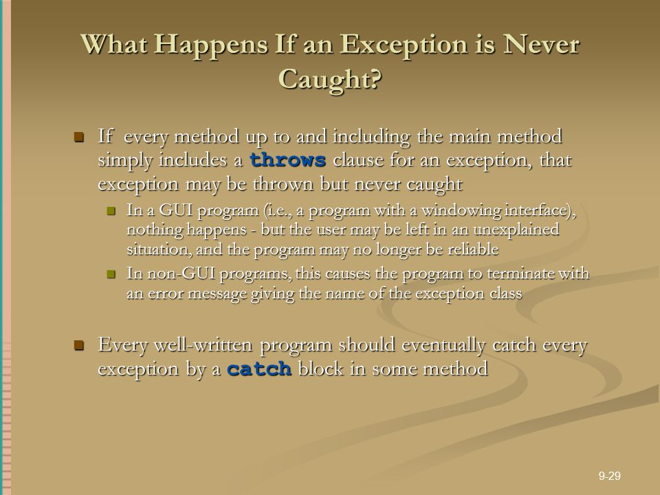 What Happens If an Exception is Never Caught