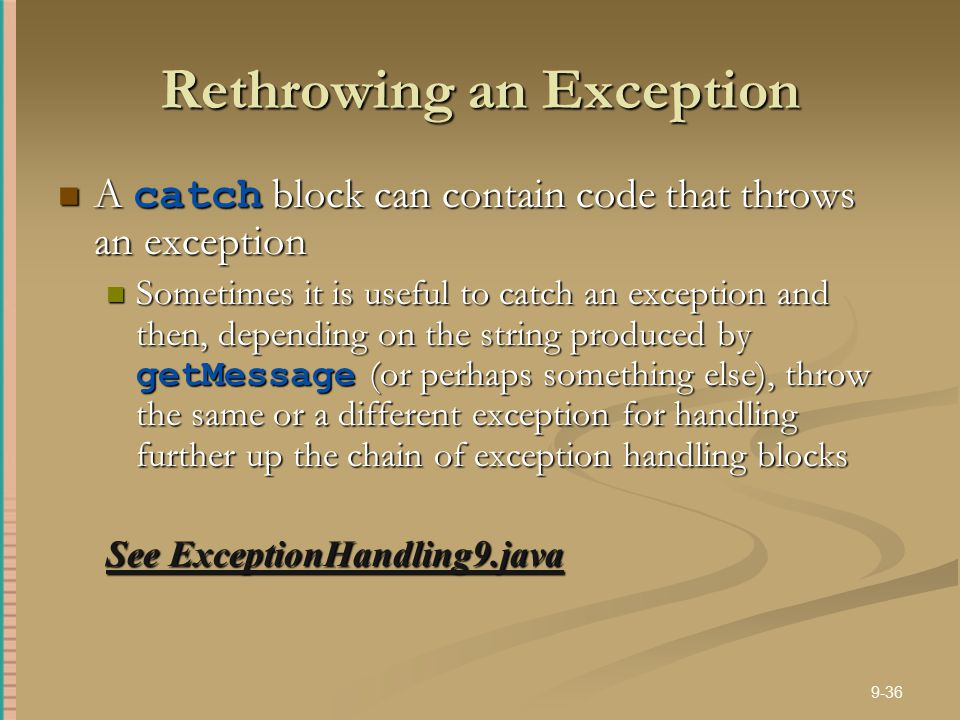 Rethrowing an Exception