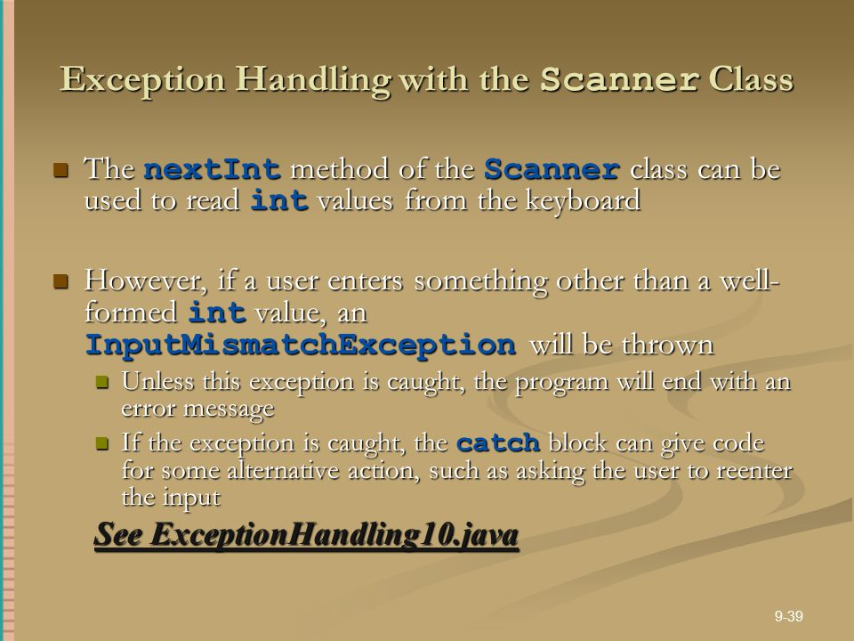 Exception Handling with the Scanner Class