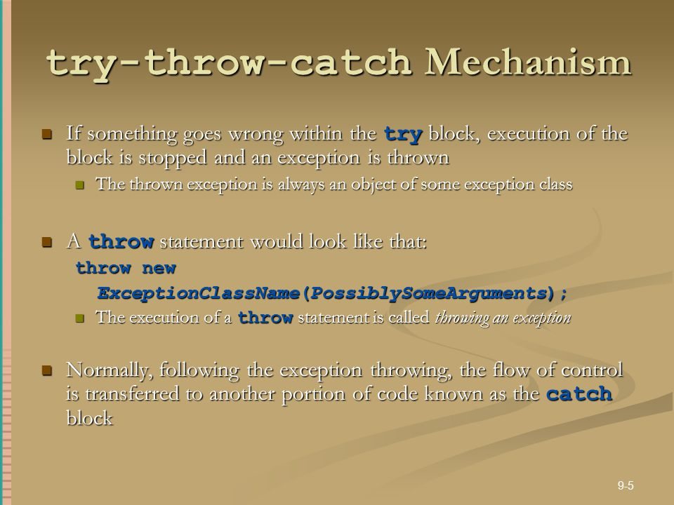 try-throw-catch Mechanism