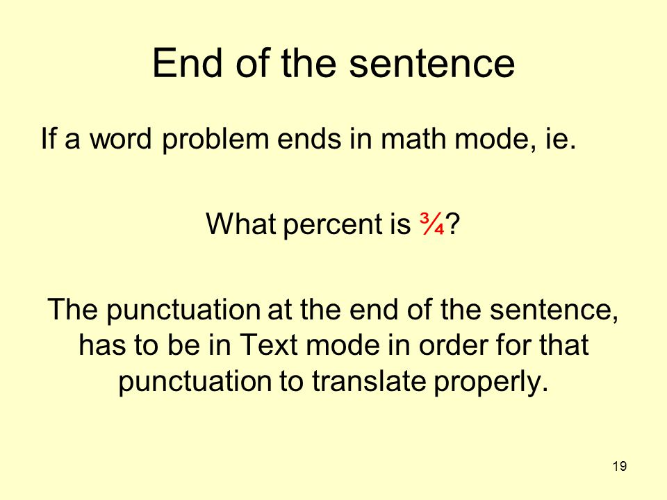 End of the sentence