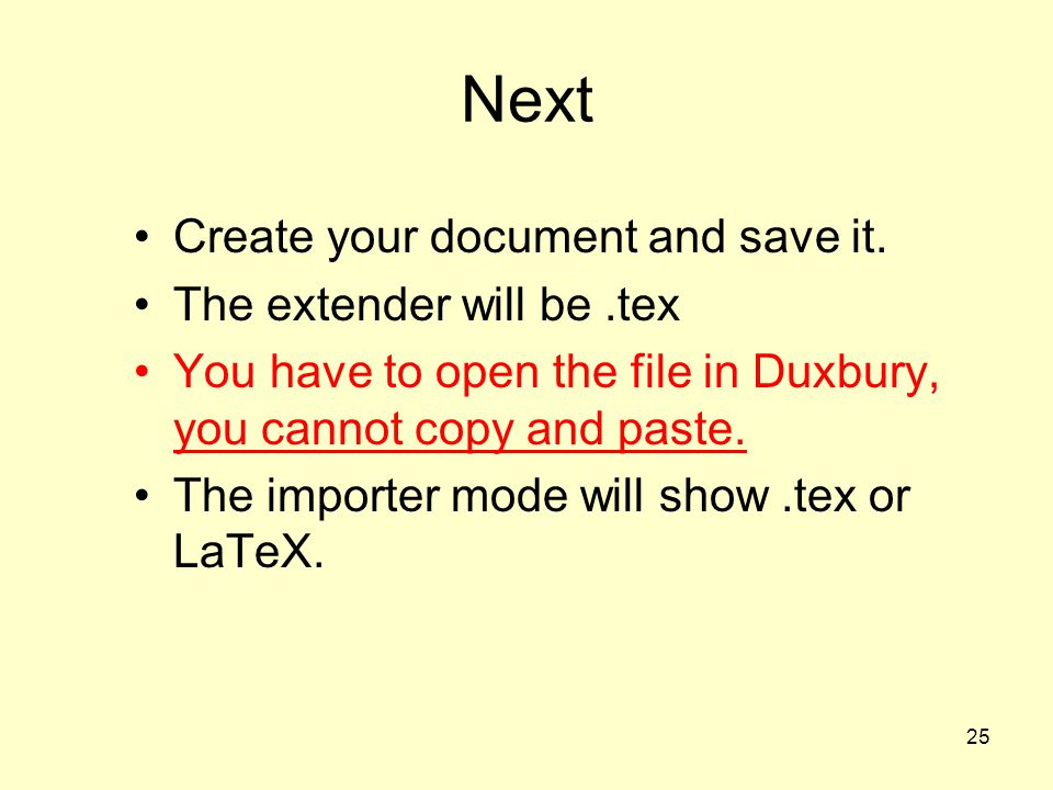 Next Create your document and save it. The extender will be .tex