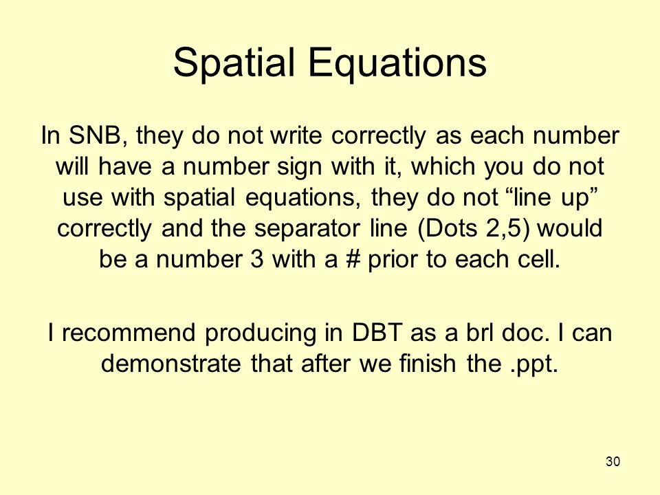 Spatial Equations