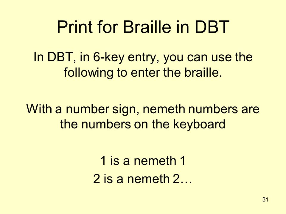 Print for Braille in DBT