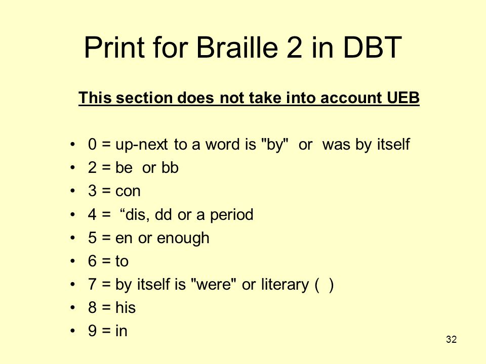 Print for Braille 2 in DBT