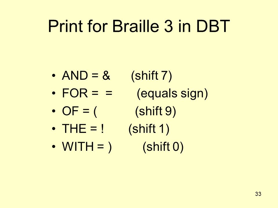 Print for Braille 3 in DBT