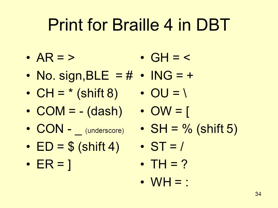 Print for Braille 4 in DBT