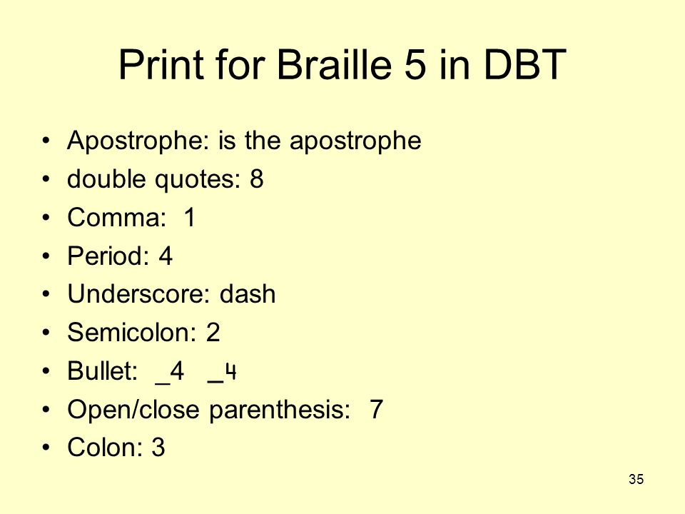 Print for Braille 5 in DBT