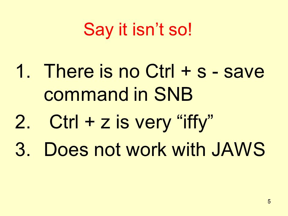 There is no Ctrl + s - save command in SNB Ctrl + z is very iffy