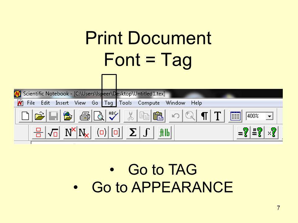 Print Document Font = Tag