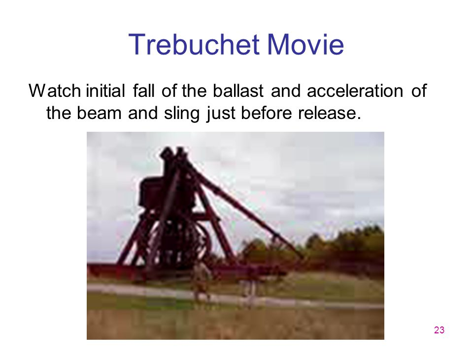 Trebuchet Movie Watch initial fall of the ballast and acceleration of the beam and sling just before release.