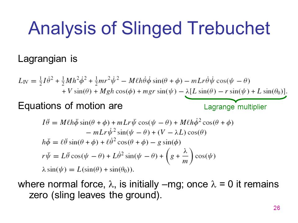 Analysis of Slinged Trebuchet