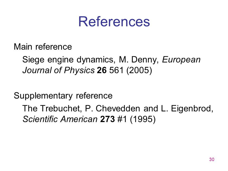 References Main reference