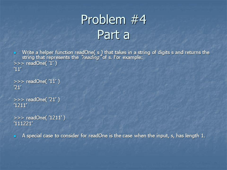 Problem #4 Part a
