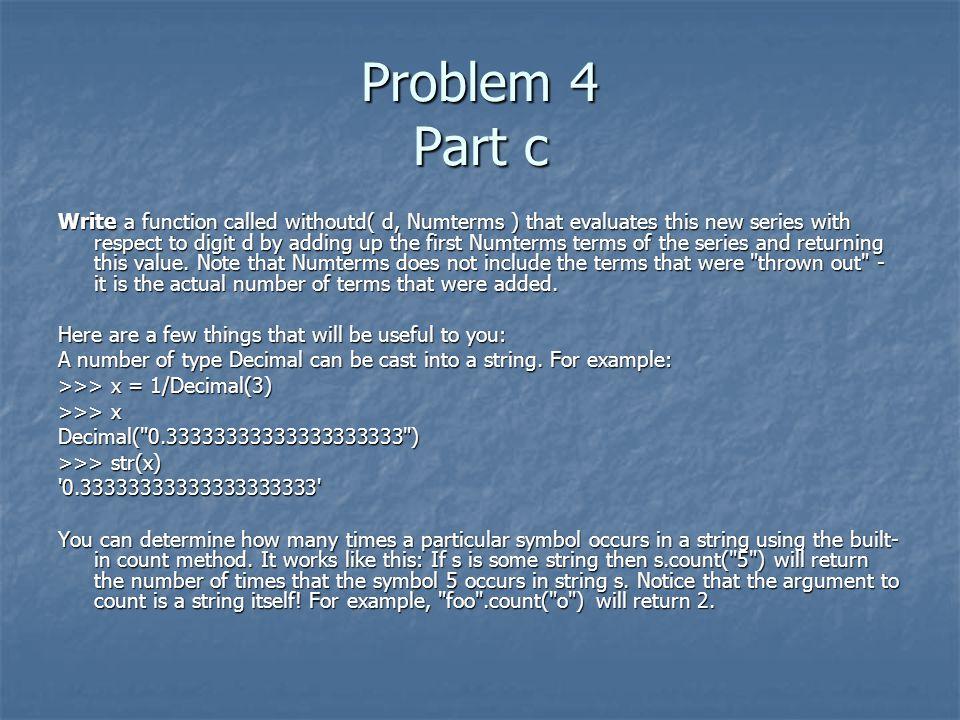 Problem 4 Part c