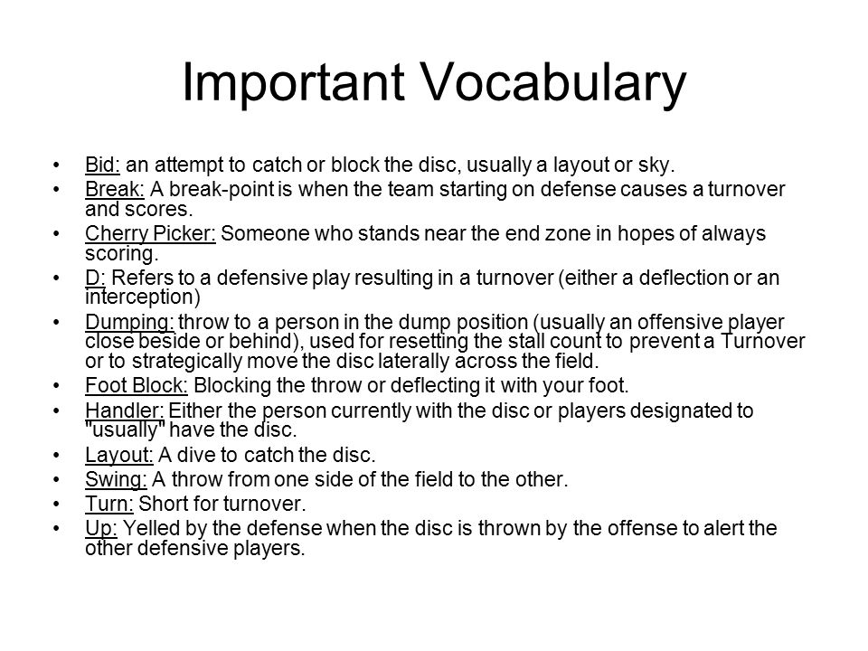 Important Vocabulary Bid: an attempt to catch or block the disc, usually a layout or sky.